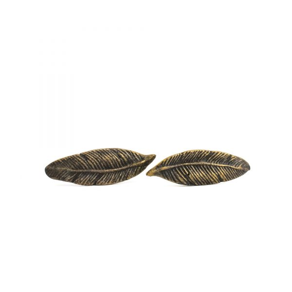Antique Gold Iron Feather Knob