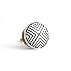 Round Black and White Ceramic Knob
