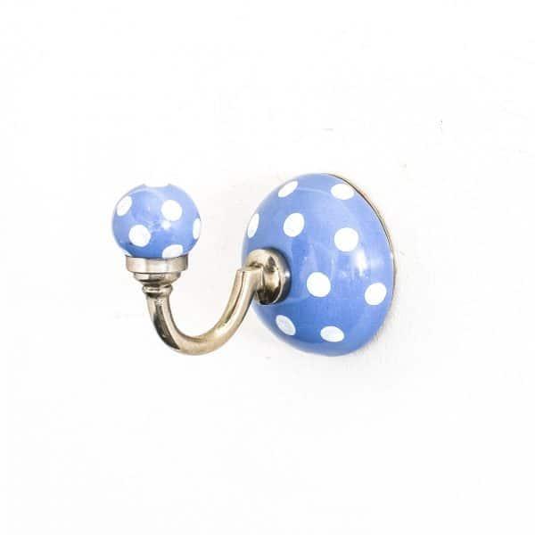 Cornflower Blue Polka Dot Ceramic Wall Hook