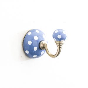 Cornflower Blue Polka Dot Ceramic Wall Hook