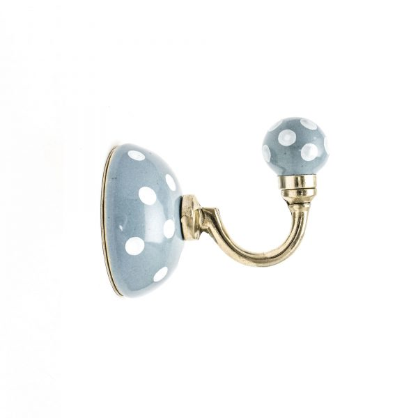 Grey Polka Dot Ceramic Wall Hook