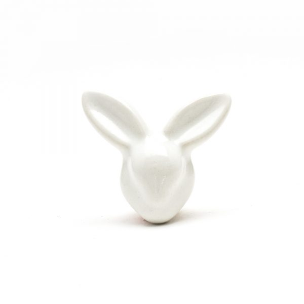 White Mr. Rabbit Ceramic Knob
