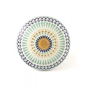 Round Ceramic Dotted Flower Knob