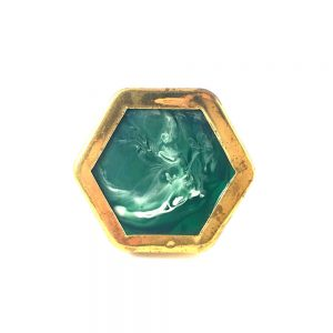 Green and Gold Hexagon Knob