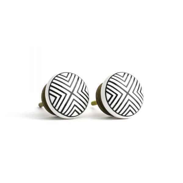 Round Black and White Ceramic Knob