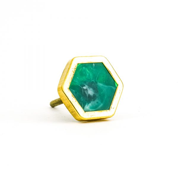 Emerald Green And Gold Hexagon Knob