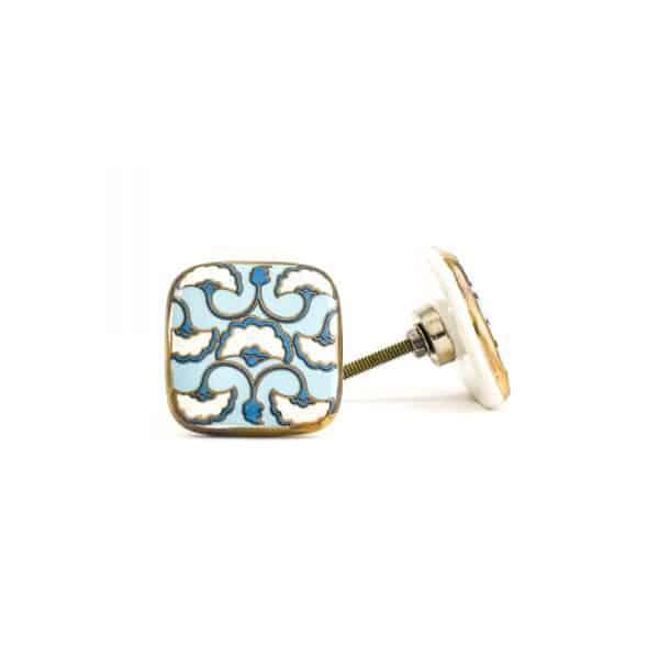 Blue White & Gold Square Ceramic Knob