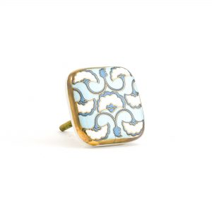 Blue, White & Gold Art Deco Square Ceramic Knob
