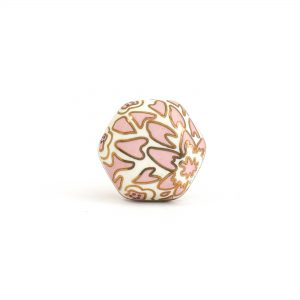 Small Pink Hexagon Ceramic Painted Knob