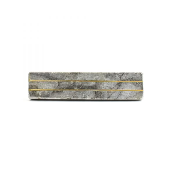 Grey Marble and Brass Lined Handle