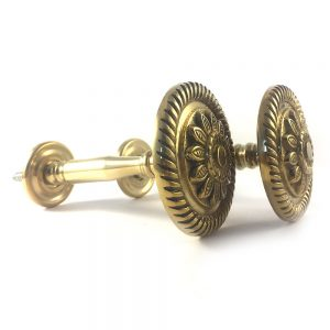 Pair- Antiqued Brass Embossed Flower Holdback