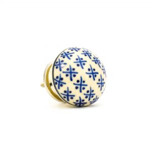 DSC 0163 Cream Hampton knob 300x300 - Blue and Cream Hamptons Ceramic Knob