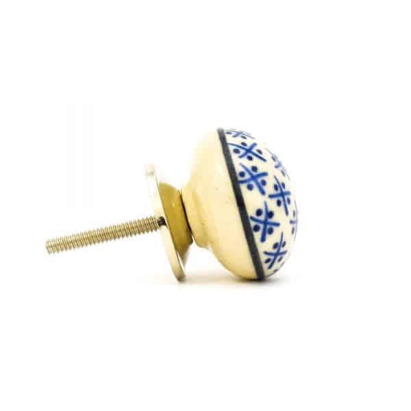 Blue and Cream Hamptons Ceramic Knob