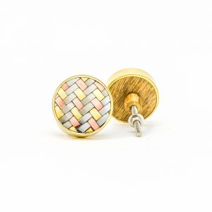 Round Copper Gold and Silver Weaved Knob