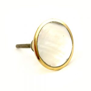 Flat Round Gold And Pearled Glass Knob 1