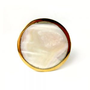 Flat Round Gold And Pearled Glass Knob 2