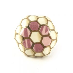 Geometric Flower Knob. Pink White And Gold 2
