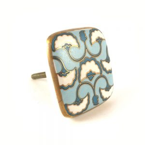Blue White & Gold square ceramic knob
