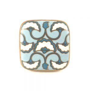 Pale Blue And Gold Art Deco Fan Detailed Knob 2