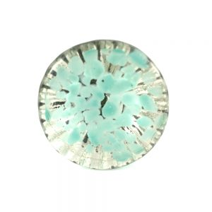 Round Clear Glass With Teal Dots 2