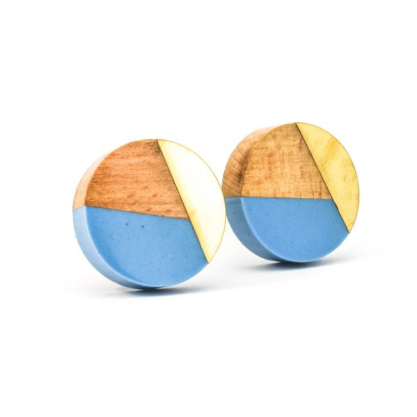 DSC 0460 Blue resin brass and wood trio knob 600x600 - Round Blue Trio Knob