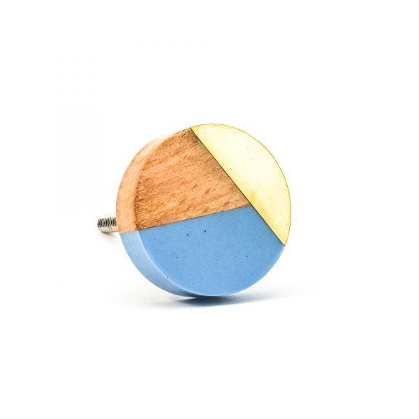 DSC 0464 Blue resin brass and wood trio knob 600x600 - Round Blue Trio Knob