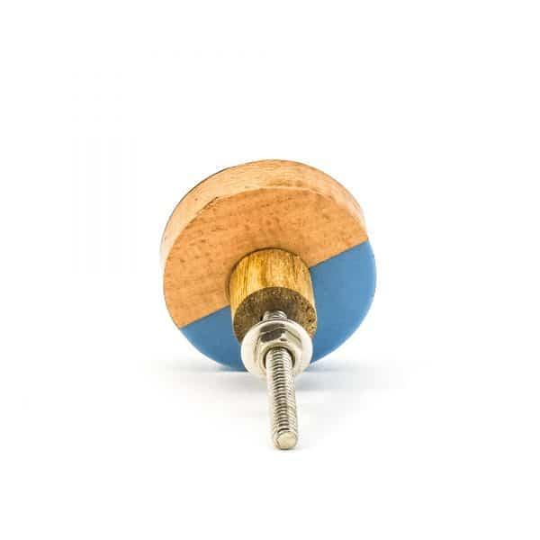 DSC 0468 Blue resin brass and wood trio knob 600x600 - Round Blue Trio Knob