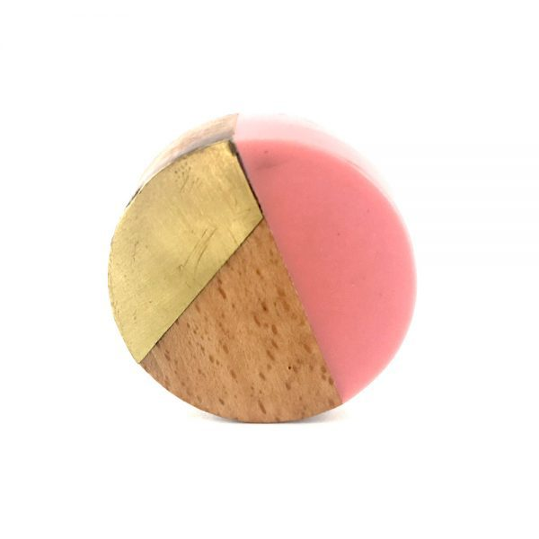 Round Resin, Gold and Wood Pink Trio Knob