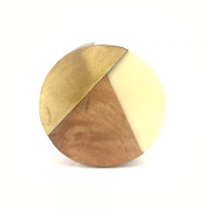 Round Gold, Wood And Resin Knob 2
