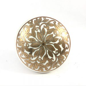 White And Gold Floral Ceramic Knob Main