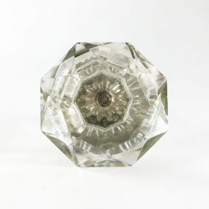 Solid Octagon Clear Glass Knob 2