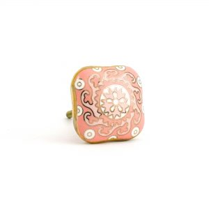 Square Pink Gold & White Hand Painted Knob