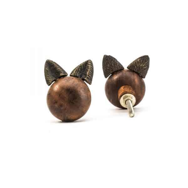 Wooden Cat Knob