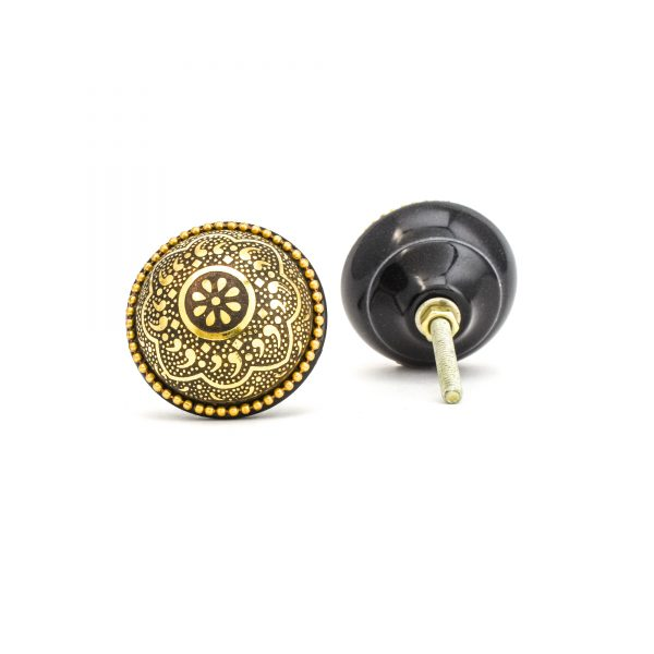 Round Gold and Black Flower Knob