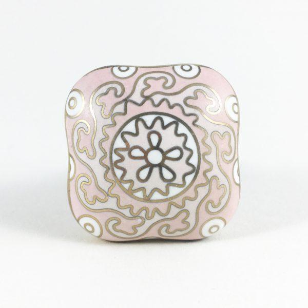 Square Pink Gold & White Handpainted Knob