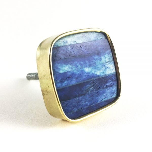 Blue and Gold Square Knob