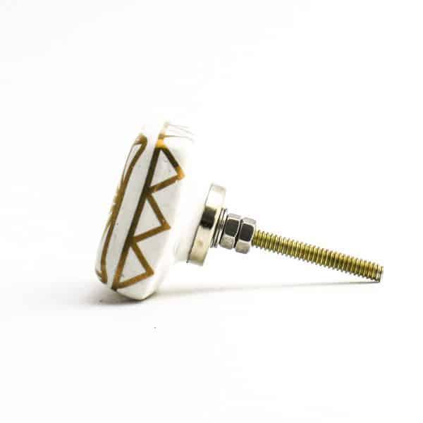 Square White and Gold Geometric Knob