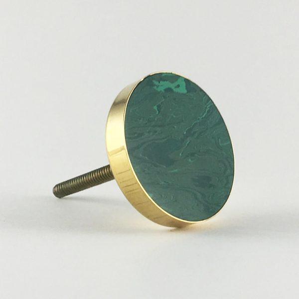 Swirled Emerald Green and Gold Discoid Knob
