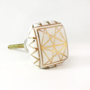 Square Gold and white geometric knob 1 300x300 c - Shop for Cabinet Handles, Cabinet Pulls & Wall Hooks
