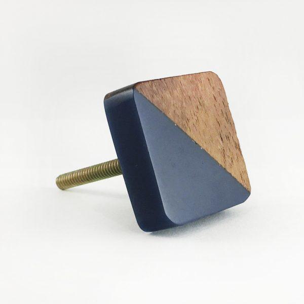Square Wood and Navy Resin Diagonal Knob