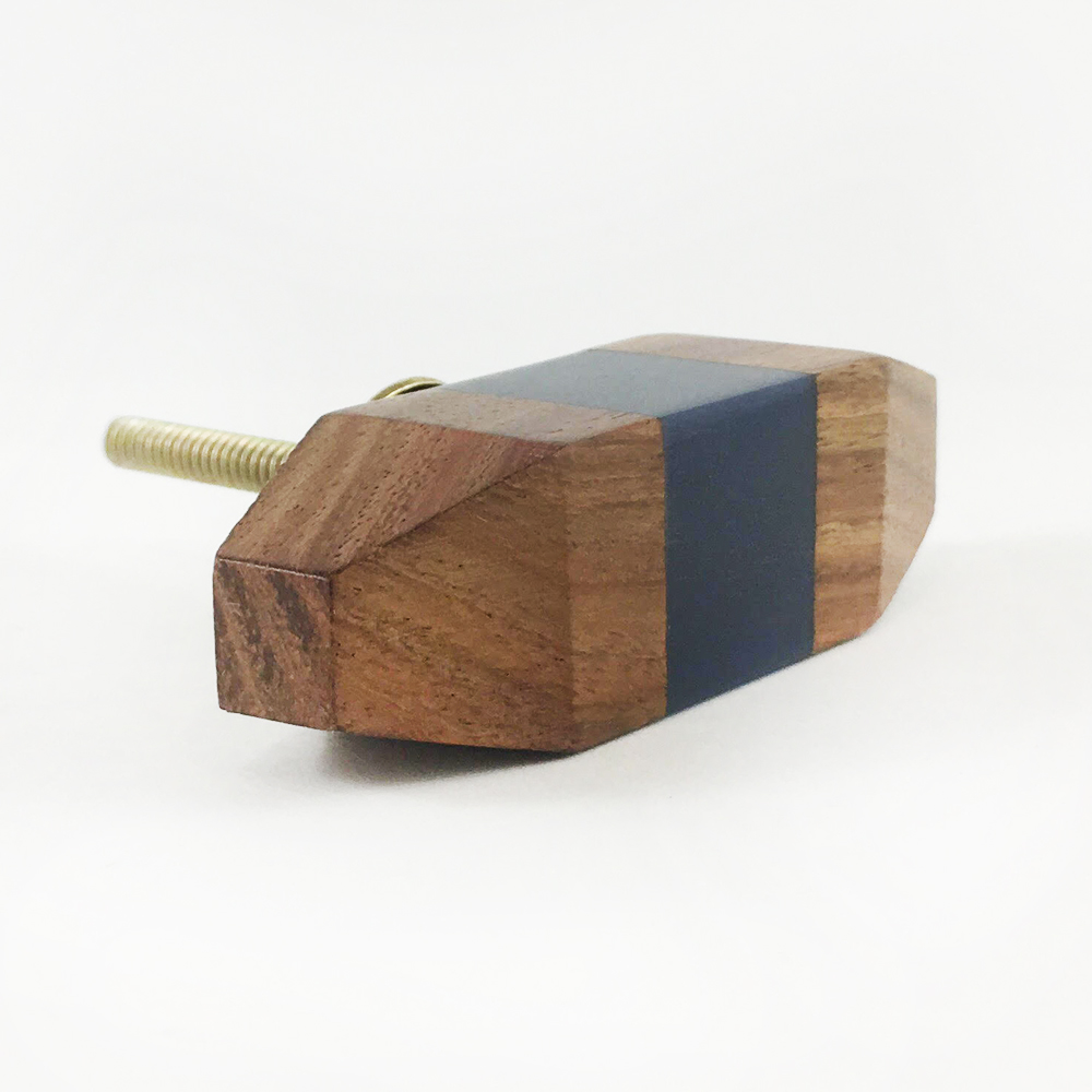 Solid Wood Knob With Blue Square Detail Shop For Cabinet