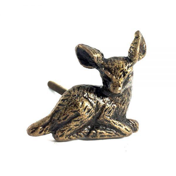 Bambi metal deer knob 1 600x600 - Antique Gold Deer Knob