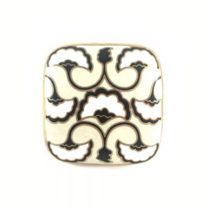 Black white and gold Art Deco fan detailed knob 1 300x300 - Black, White & Gold  Art Deco square ceramic knob