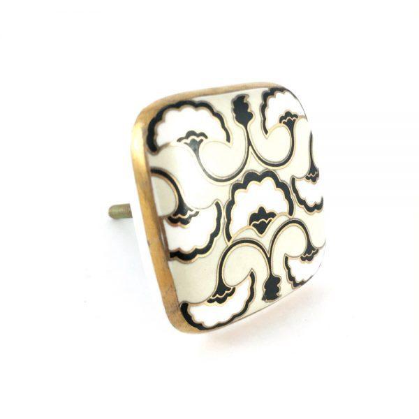 Black, White & Gold  Art Deco square ceramic knob