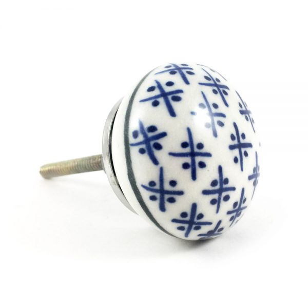 Blue and White Hamptons Ceramic Knob