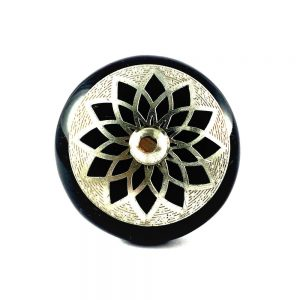 Round Ceramic Black and Silver Dahlia Knob
