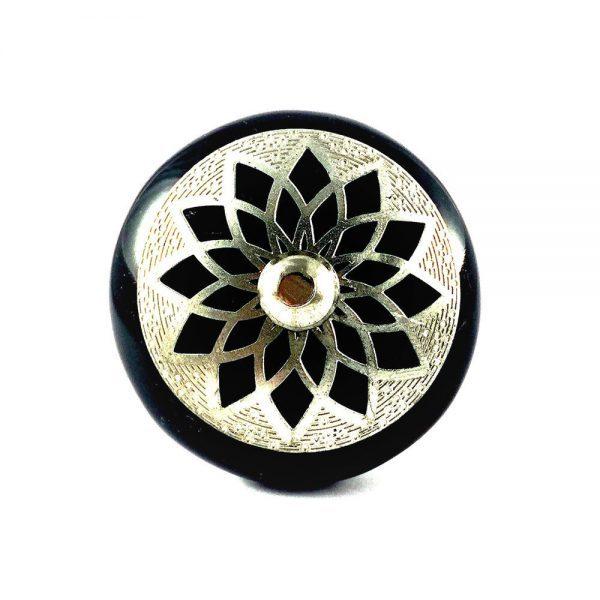 Round Ceramic Black and Silver Dahlia Knob