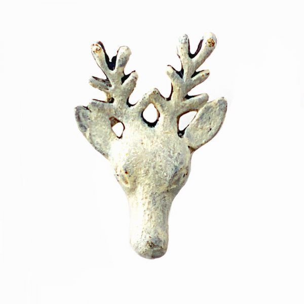 White Rustic Deer Head Knob