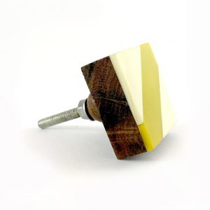 Diagonal Stripe Furniture Knob, White and Yellow Square