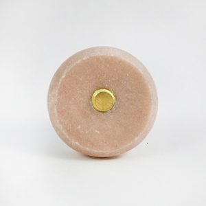 Round Pink Marble and Brass Knob